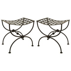 Pair of Italian Renaissance Style, 1940s Black Painted Wrought Iron Benches