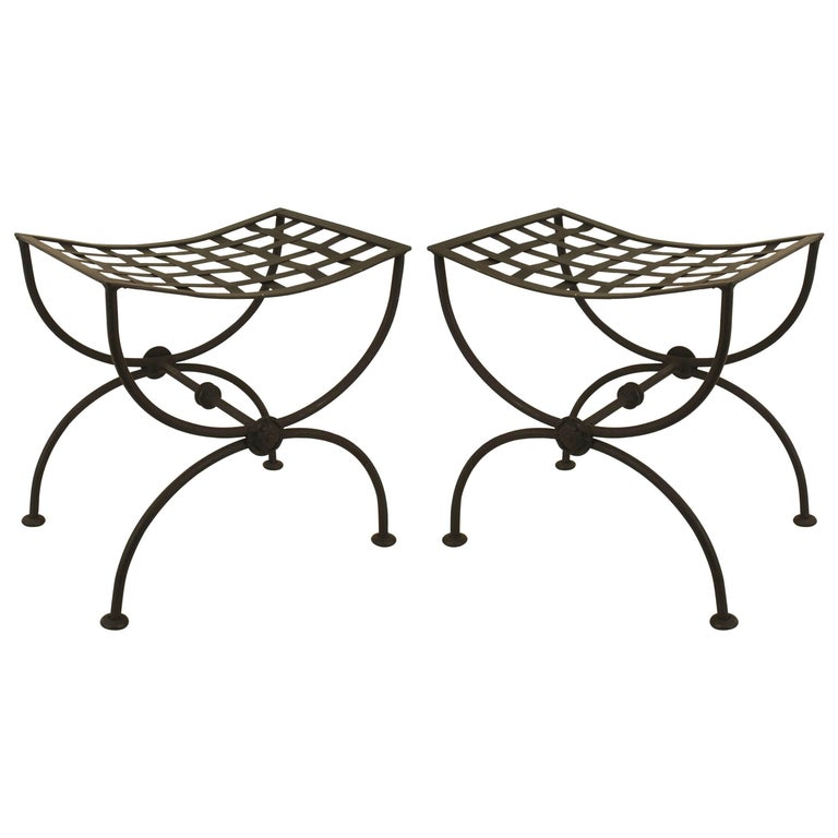 Pair of Italian Renaissance Style, 1940s Black Painted Wrought Iron Benches  For Sale