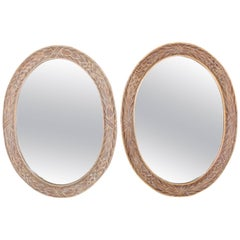 Pair of Medium Large Oval Gold Gild Leaf Pattern Frame Mirrors