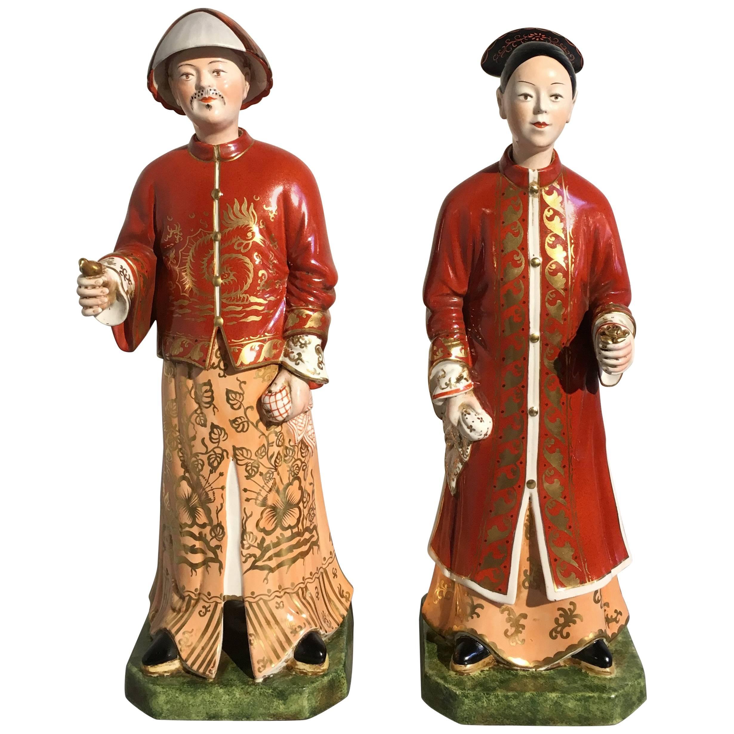 Pair of 20th Century Italian Chinoiserie Porcelain Nodding Head Figures