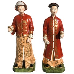 Pair of 20th Century Italian Chinoiserie Porcelain Nodding Head Figures