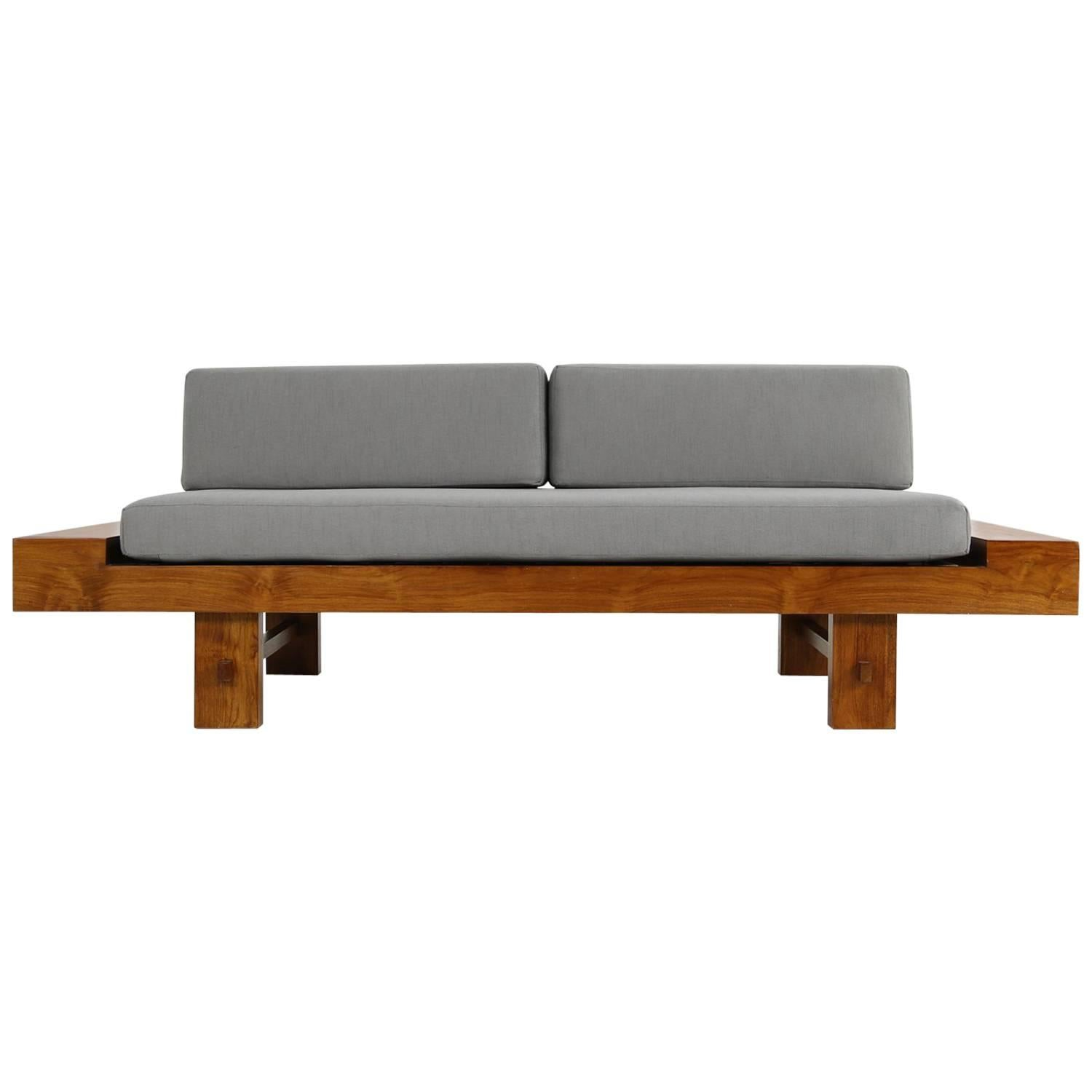 Unique Solid Balinese Teak Wood 1970s Daybed Sofa with New Grey Upholstery
