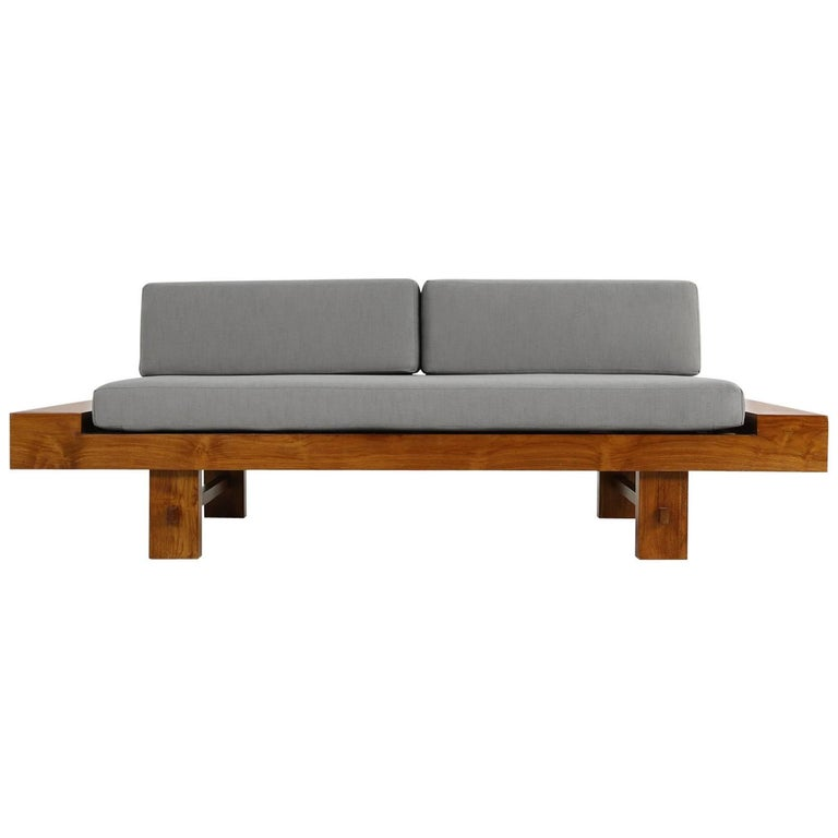 Unusual Sofas For Sale: Unique Solid Balinese Teak Wood 1970s Daybed Sofa With New