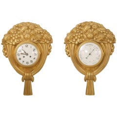 Pair of French Art Deco Gilt Bronze Wall Clock and Barometer, Not Working