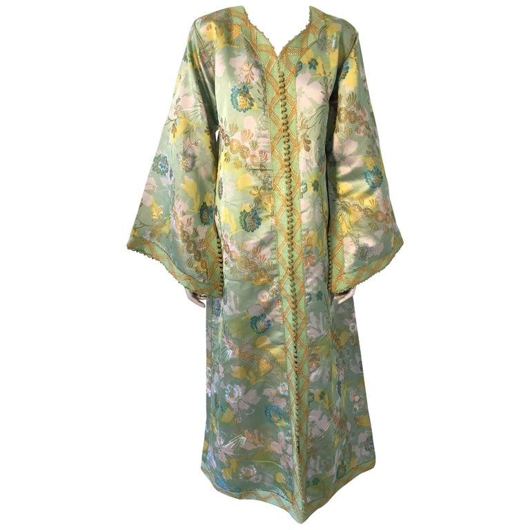Moroccan Caftan Green and Gold Metallic Floral Brocade Maxi Dress Kaftan