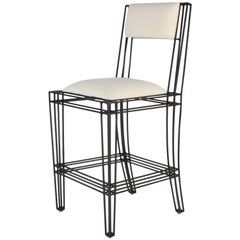 Black Powder-Coated Indoor or Outdoor Wrought Iron Counter Stools by Casamidy