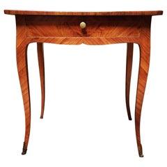 Swiss Kindwood Veneer Parquetry Louis XV Style Table