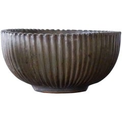 Arne Bang, Mid-Century Scandinavian Ribbed Ceramic Bowl, 1930s