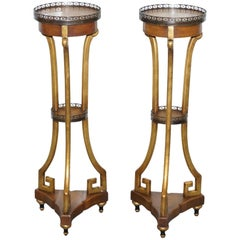 Theodore Alexander Three-Tiered Lamp Wine Side End Tables Jardiniere Stands Pair