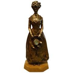 "Art Nouveau Bronze ""Elegant Lady"" by Georges Van der Straeten"