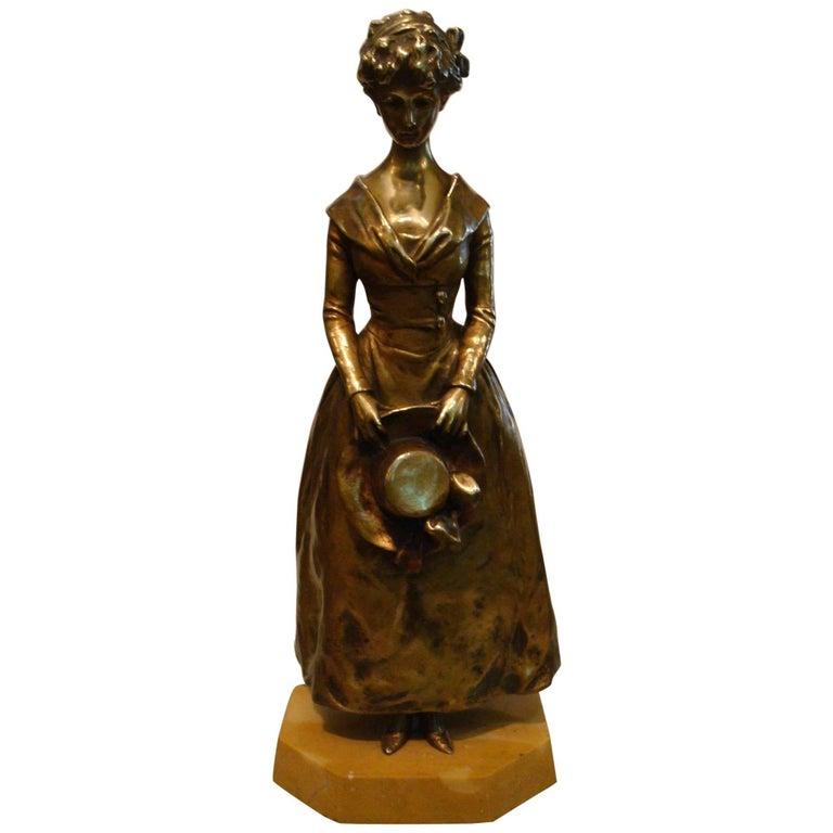 """Art Nouveau Bronze """"Elegant Lady"""" by Georges Van der Straeten For Sale"""