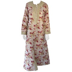 1970s Metallic Brocade Moroccan Caftan, Kaftan Maxi Dress North Africa, Morocco