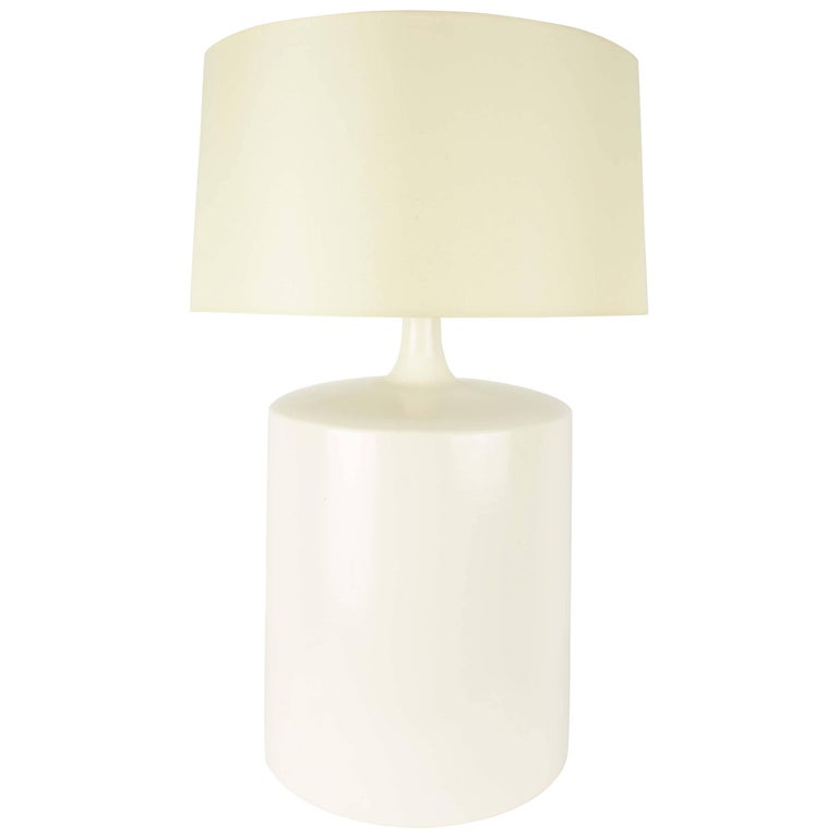Modern Minimalist Monumental White California Ceramic Lamp For Sale