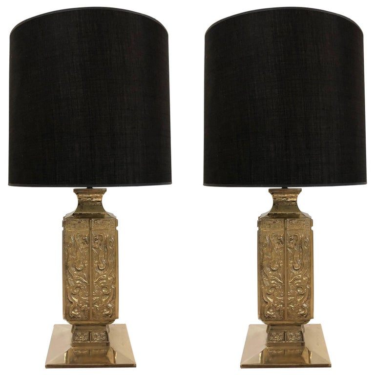 Pair of Polished Bronze Asian Lamps By James Mont