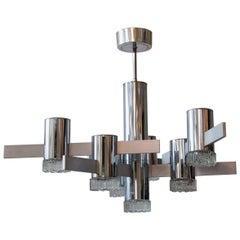 Midcentury Metal Ceiling Lamp Designed by Cubic Sciolari-Roma