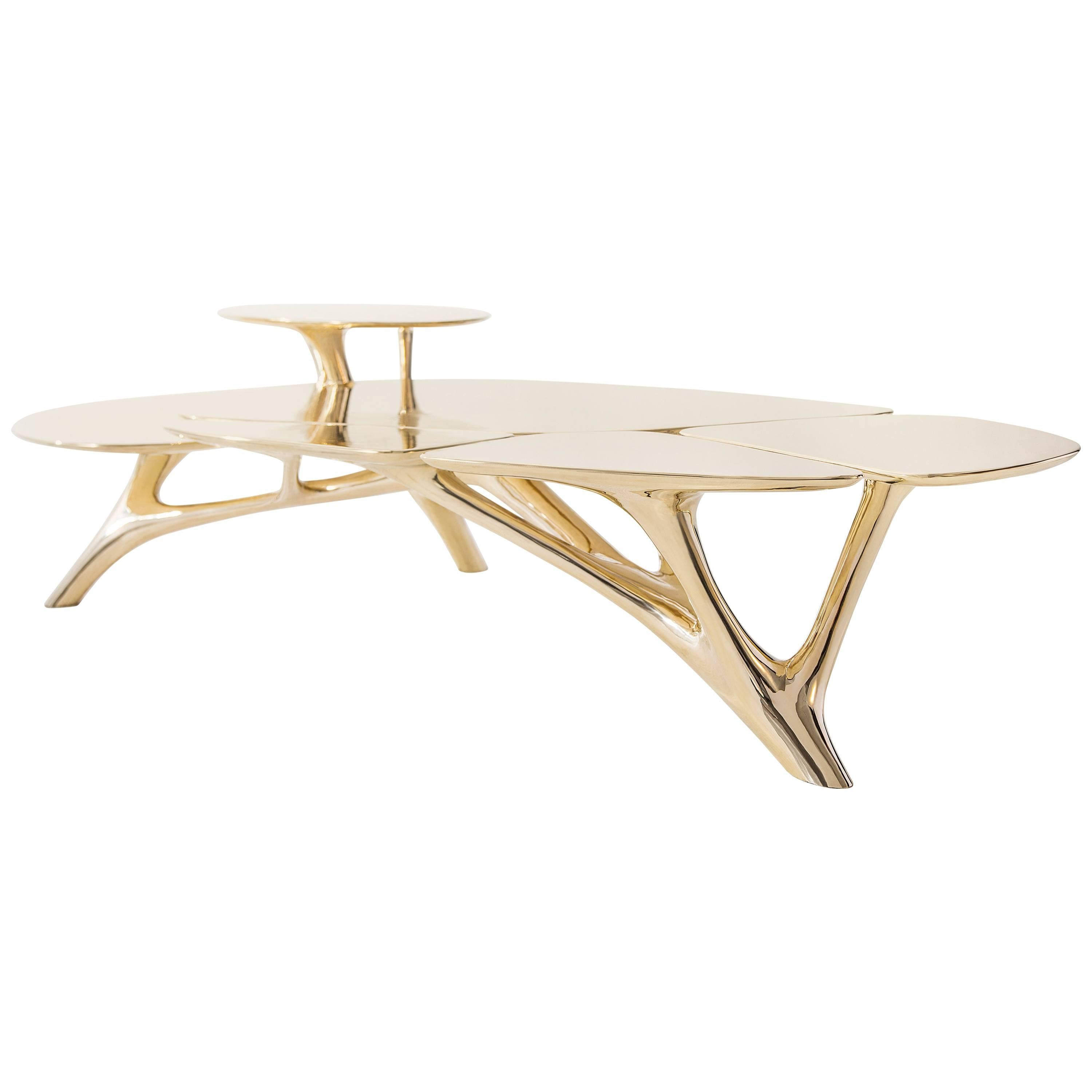 Lotus Coffee Table Polished Brass by Zhipeng Tan