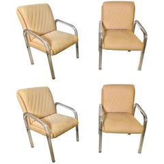 Set of Four Baughman Mid-Century Modern Lucite Overstuffed Armchairs U-Shaped