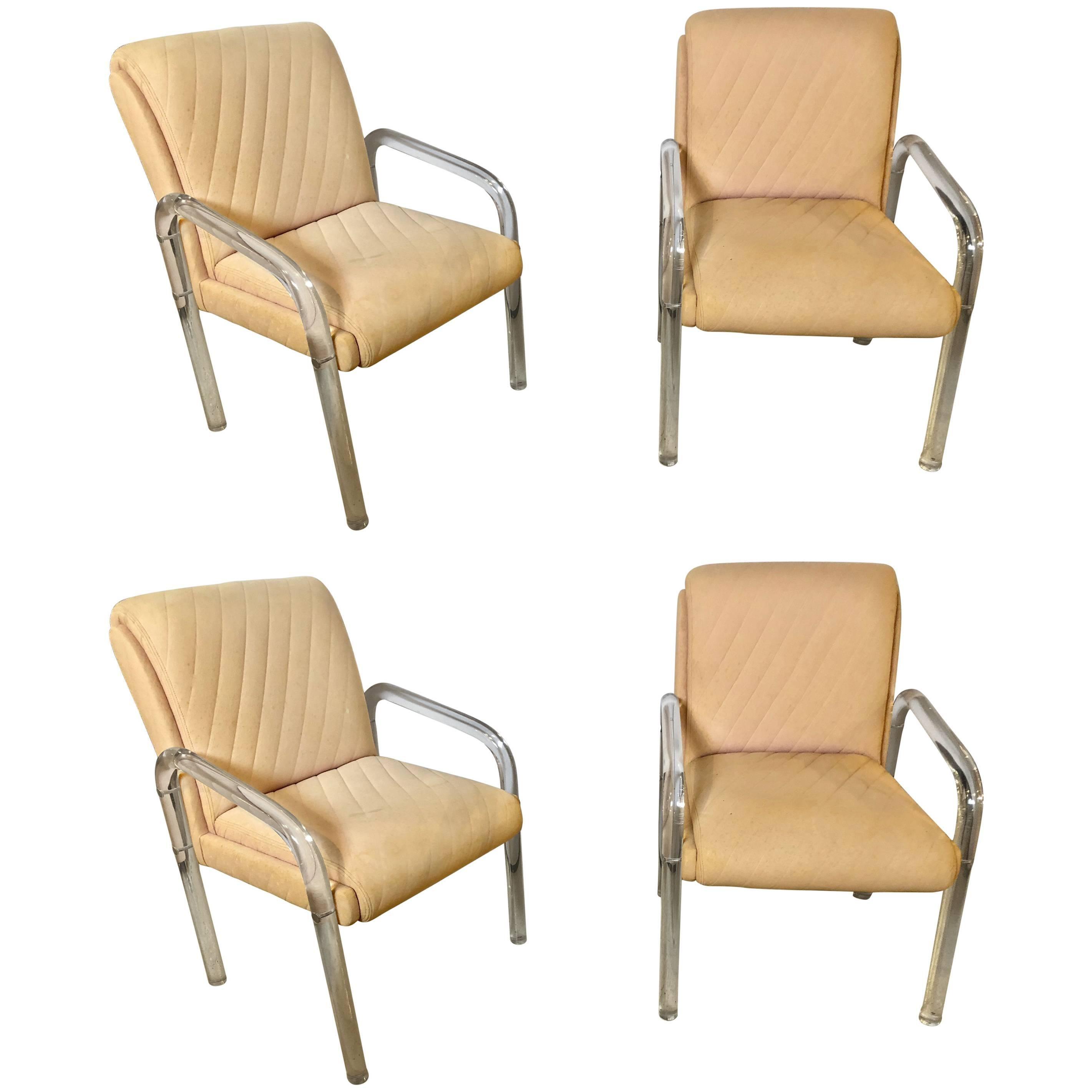 Set Of Four Baughman Mid Century Modern Lucite Overstuffed Armchairs  U Shaped