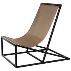 Contemporary Joa Armchair in Canvas and Metal Chocolate Color