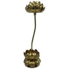 1970s Brass Lotus Sculpture Candleholder