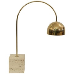 Guzzini Brass Arc Table Lamp with Travertine Base