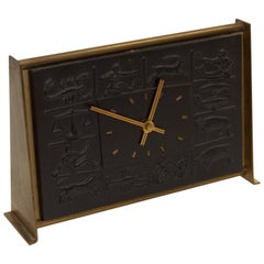 Zodiac Bas-Relief Brass Desk Clock by Schatz