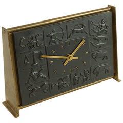 Zodiac Bas-Relief Brass Desk Clock by Schatz