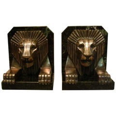 Art Deco Bronze and Marble Lion Bookends, Jacques Cartier, France, 1925