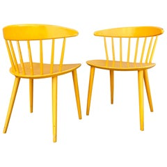 Pair Vibrant 1950s Ejvind Johansson Painted Yellow Danish Modern Painted Chairs