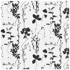 Herbario Designer Wallpaper in Color Cinder 'Black on White'
