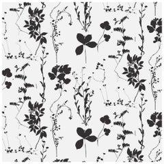 Herbario Designer Wallpaper in Cinder 'Black and White'