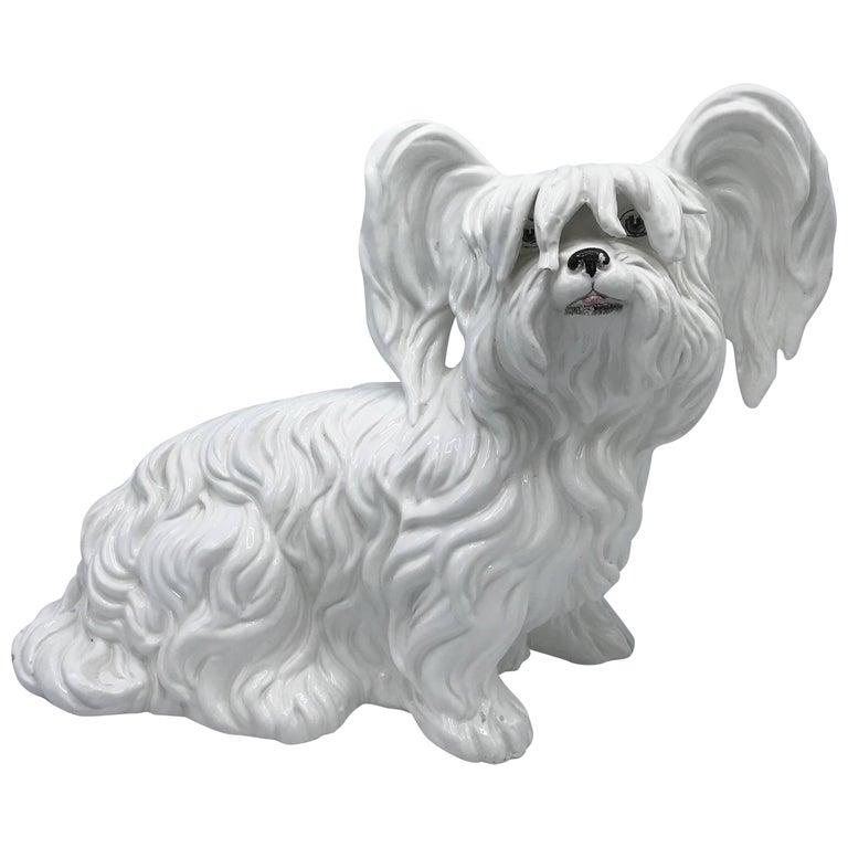 1970s Italian White Ceramic Mottahedeh Terrier Dog Sculpture