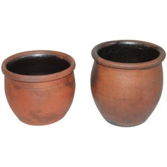 Redware Pennsylvania 19th Century Crocks, Two Pieces