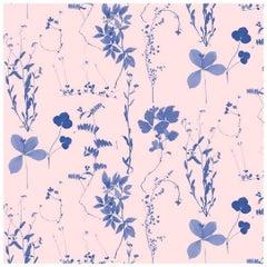Herbario Designer Wallpaper in Euphoria 'Blue on Peachy Pink'