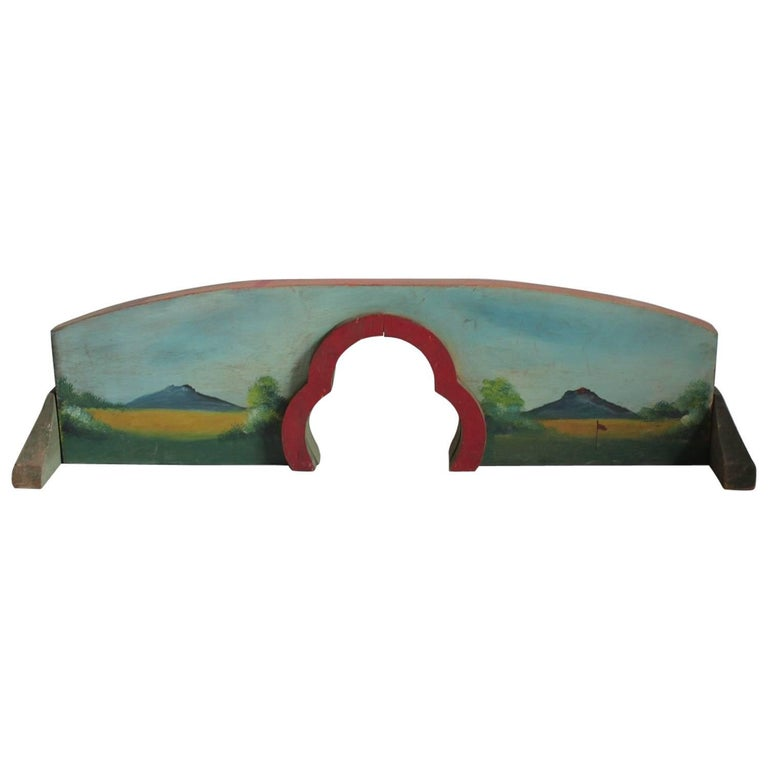 1930s Hand-Painted Carnival Mini Golf Double Sided Game Board