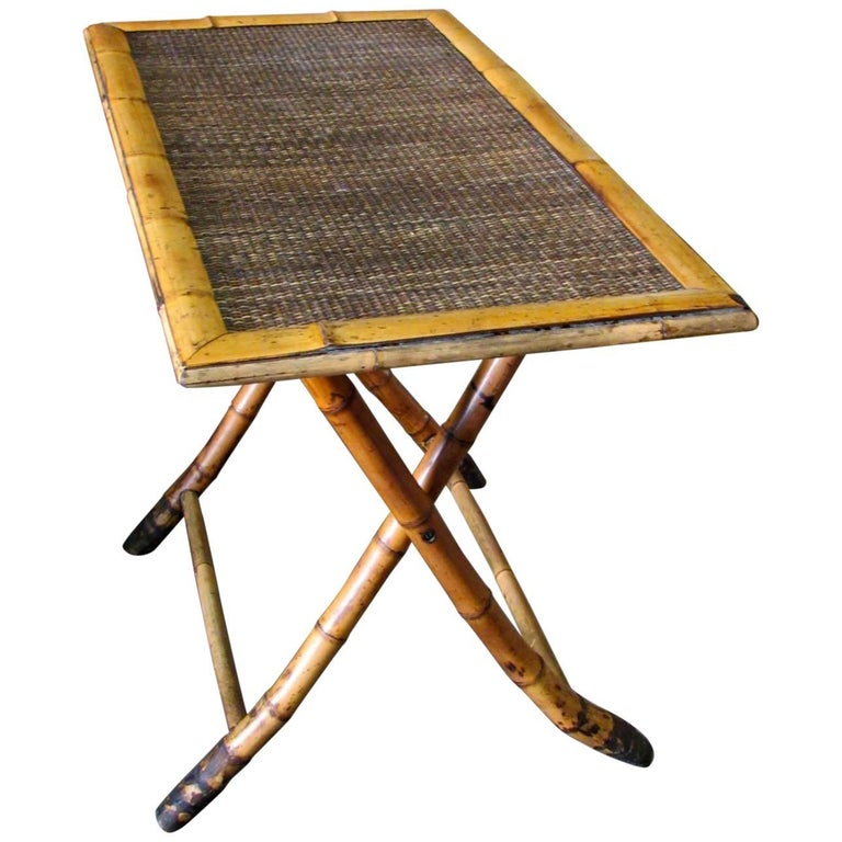 Late 19th Century French Tortoise Bamboo Campaign Folding Table