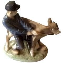 Royal Copenhagen Figurine Boy with Calf #772