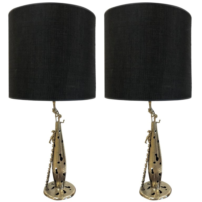Pair of Chinese Polished Bronze Figural Lamps For Sale