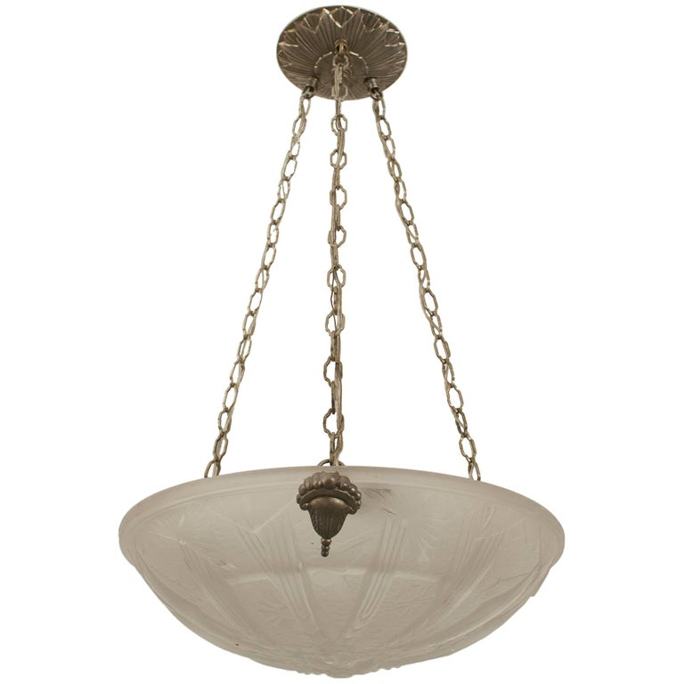 French Art Deco Round Pendant Form Frosted Glass Chandelier, circa 1925