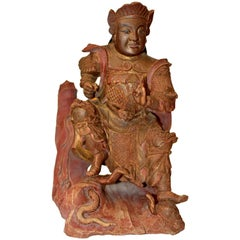 Antique Chinese Heaven General Statue, Carved Wooden Sculpture