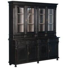 Large Reproduction Breakfront Bookcase Painted Black