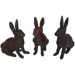 19th Century Cast Iron Rabbits / Collection of Three