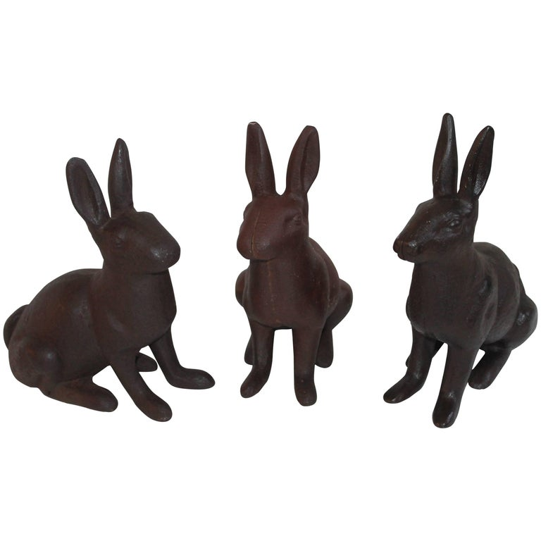 19th Century Cast Iron Rabbits / Collection of Three For Sale