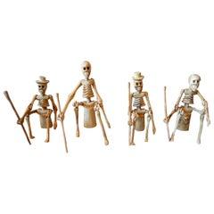 Set of Four Vintage Wood Articulating Skeletons