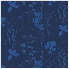 Herbario Designer Wallpaper in Color Umbra 'Cobalt on Navy'