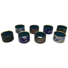 1970s Cloisonné Napkin Rings, Set of Eight