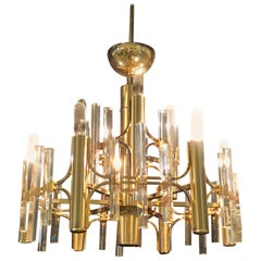 Tommi Parzinger Style Brass Chandelier Cylindrical Lights Crystal Prisms