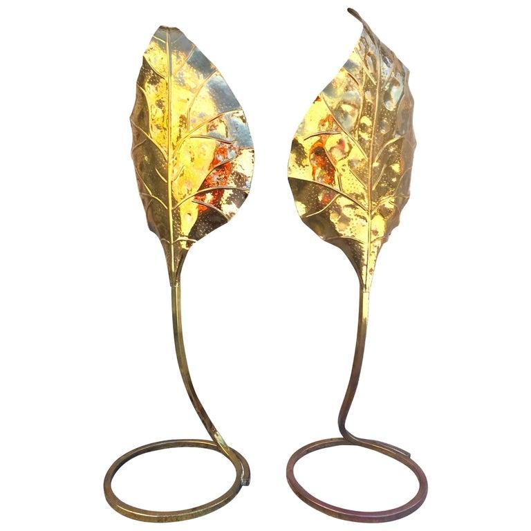 Sculptural Pair of 1970s Tommasi Barbi Italian Brass Table Lamps