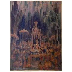 New York National Academy Artist Carl Brandien Painting, 1930 - Bali Temple