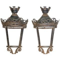 Pair of 19c Metal Lanterns